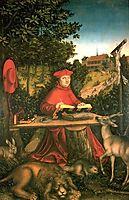 Albrecht of Brandenburg as St. Jerome in his study, 1527, cranach