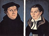 Diptych with the Portraits of Martin Luther and his Wife, 1529, cranach