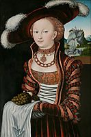 Portrait of a Young Woman Holding Grapes and Apples, 1528, cranach