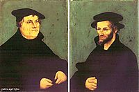 Portraits of Martin Luther and Philipp Melanchthon, 1543, cranach
