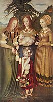 Saints Dorothea, Agnes and Kunigunde , 1506, cranach