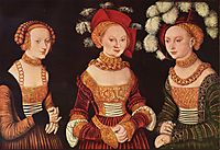 Three princesses of Saxony, Sibylla, Emilia and Sidonia, daughters of Duke Heinrich of Frommen, c.1535, cranach