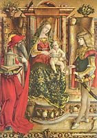 Enthroned Madonna, Saint Jerome, and St. Sebastian, 1490, crivelli