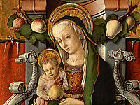 Madonna and Child enthroned with donor, c.1470, crivelli