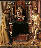 The Virgin and Child with Saints Francis and Sebastian, crivelli