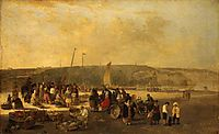 The Fish Market, Boulogne, France, 1820, crome