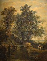 A Stream, Bridge, Trees and Two Figures in a Landscape, crome