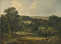 View near Norwich with Harvesters, 1821, crome