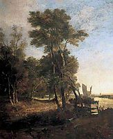 Woodland with a River and Barges with Sails, crome