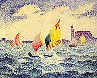 Sailboats near Chicago, 1905, cross