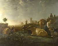 A Distant View of Dordrecht, with a Milkmaid and Four Cow, 1650, cuyp