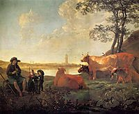 Landscape with Shepherds and Flock, Near Rhenen, cuyp