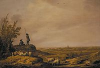 Panoramic Landscape with Shepherds, Sheep and a Town in the Distance, 1644, cuyp