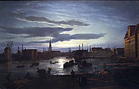 Copenhagen Harbour by Moonlight, 1846, dahl