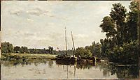 The barges, 1865, daubigny