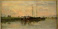 The barges in Bezons, daubigny