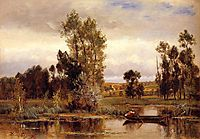 Boat on a Pond, daubigny