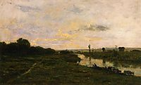 Cows on the Banks of the Seine, at Conflans, 1876, daubigny