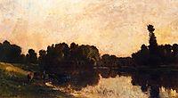 Daybreak, the Oise, Ile de Vaux, 1869, daubigny