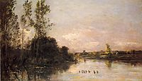 Ducklings in a River Landscape, 1874, daubigny