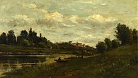 Fisherman on the Banks of the River, daubigny