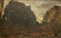 Rising Moon in Barbizon, daubigny