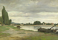 River landscape with barge moored, daubigny