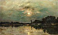 Riverbank in Moonlight, 1875, daubigny