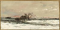 Snowy Landscape at Sunset, 1873, daubigny