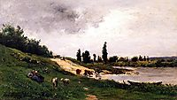 Washerwomen on the Riverbank, daubigny