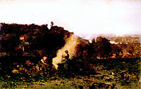 Wood fire in the country, 1871, daubigny