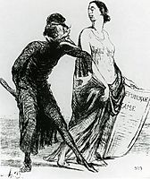 Beautiful injury, want you to accept my arm, 1851, daumier