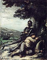 Don Quixote and Sancho Pansa Having a Rest under a Tree, c.1855, daumier