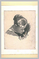 Head of a Young Woman, Leaning Three-quarters Right, daumier