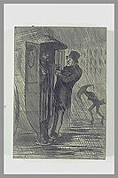 Street Scene. Two Characters in the Back of a Car Service, daumier