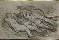 Study of three naked women lying at the foot of a cliff, daumier