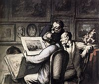 Three Amateurs in front of the Night Review of Raffet, daumier