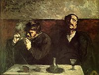 Two Men Sitting with a Table, or the Smokers, daumier