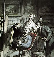 Visitors in the workshop of a painter, daumier