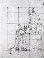 Nude study of Pope Pius VII, 1805, david