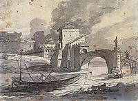 View of the Tiber and Castel Saint Angelo, 1776-1777, david