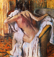 After the Bath, Woman Drying Herself , 1892, degas