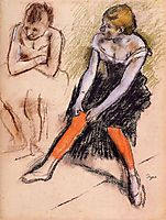 ancer with Red Stockings , c.1884, degas