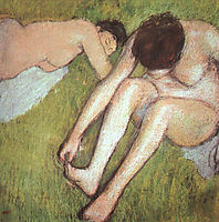 Bathers on the grass, 1890, degas