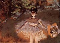 Dancer on Stage with a Bouquet, c.1876, degas