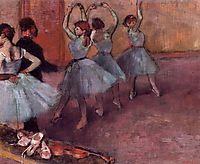 Dancers in Light Blue (Rehearsing in the Dance Studio), c.1881, degas