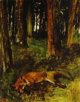 Dead fox lying in the Undergrowth, 1865, degas
