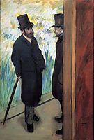 Friends at the Theatre, Ludovic Halevy and Albert Cave, 1879, degas