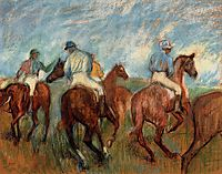 Jockeys, c.1900, degas