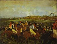 Jockeys before the start, 1862, degas